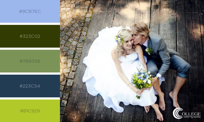 College Coloring Books Wedding Couple on Ground