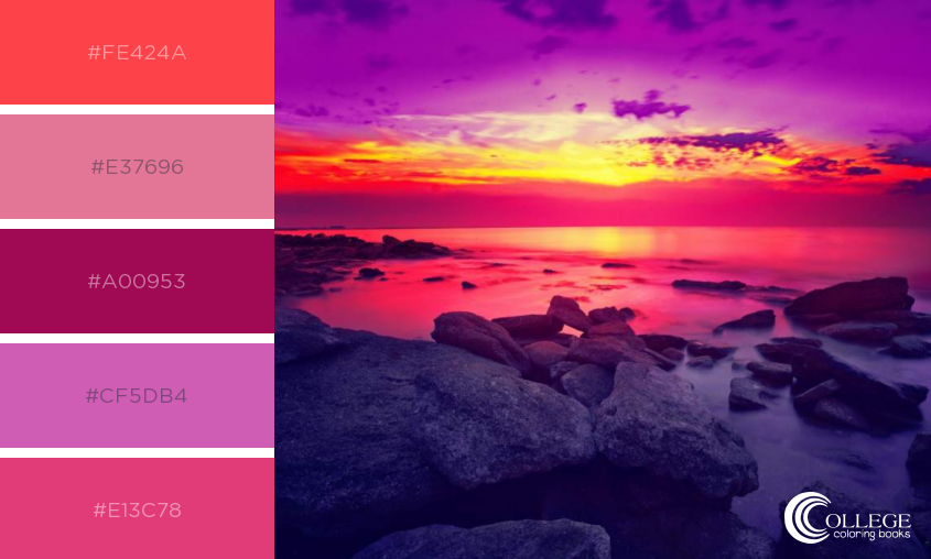 College Coloring Books Winter Blues Color Palette Bright Sunset