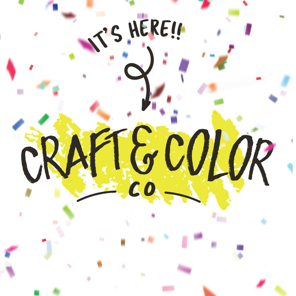 It's Here! Craft & Color Co logo with confetti