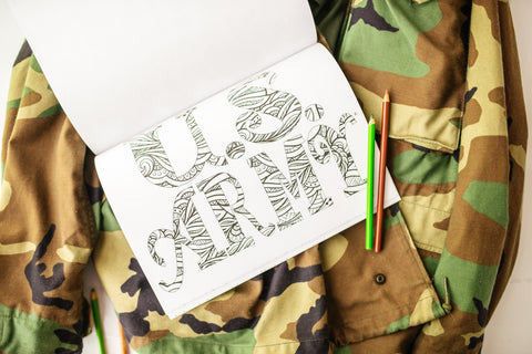 coloring book page with U.S. Army text on top of camouflage jacket