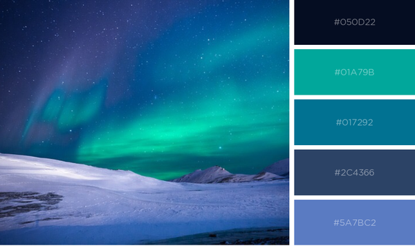 Teal and blue northern lights