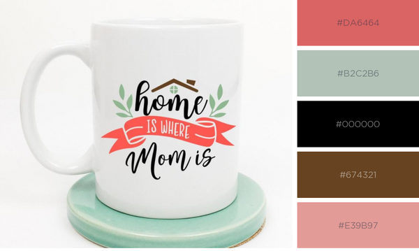 "Mug that says ""Home is where Mom is"""