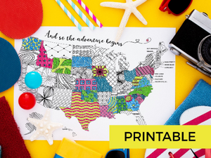 "Map of the USA Printable Coloring Page ""The Adventure Begins""-Craft and Color Co"