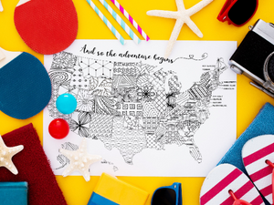 "Map of the USA Printable Coloring Page ""The Adventure Begins"""