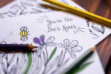 You're the Bee's Knees Spring Coloring Note Cards, Set of 12-Craft and Color Co