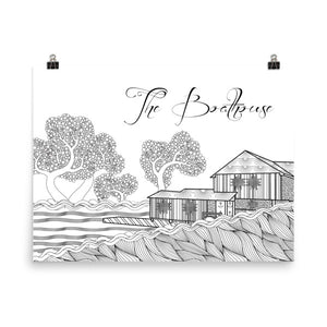 Sweet Briar College SBC Boathouse Coloring Poster-Craft and Color Co