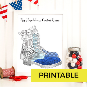 My Hero Wears Combat Boots Printable Coloring Page-Craft and Color Co