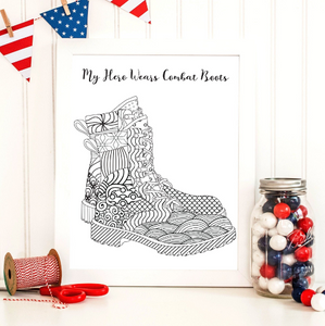 My Hero Wears Combat Boots Printable Coloring Page