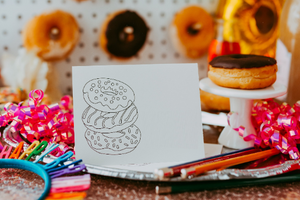 Donut Coloring Note Card Instant Download