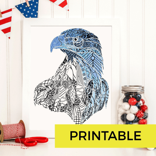 American Eagle Patriotic Adult Coloring Page-Craft and Color Co