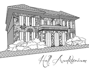 Miami University Ohio MU Hall Auditorium Coloring Page Download