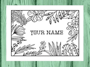 Set of Custom Personalized Coloring Note Cards