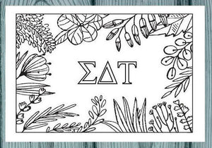 Sigma Delta Tau Coloring Note Cards