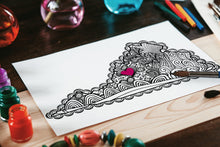 I Heart Virginia Lexington Washington & Lee VMI Coloring Page-Craft and Color Co