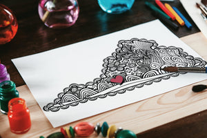 I Heart Virginia Roanoke Hollins Coloring Page-Craft and Color Co