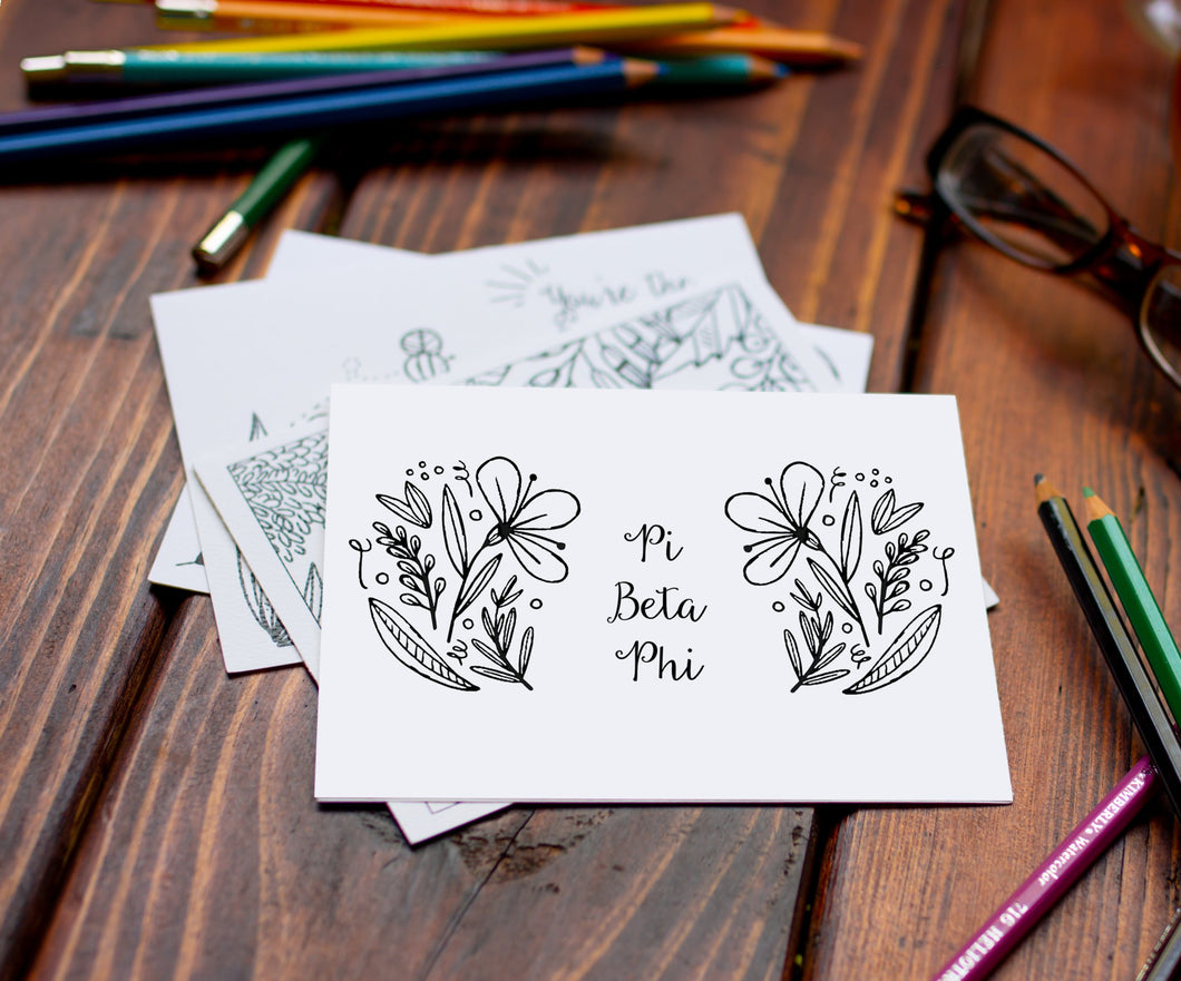Pi Beta Phi Pi Phi Coloring Note Cards-Craft and Color Co