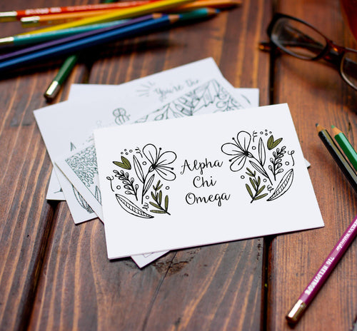 Alpha Chi Omega AXO Coloring Note Cards-Craft and Color Co