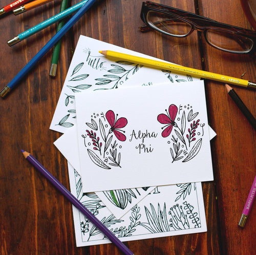 Alpha Phi APhi Coloring Note Cards-Craft and Color Co