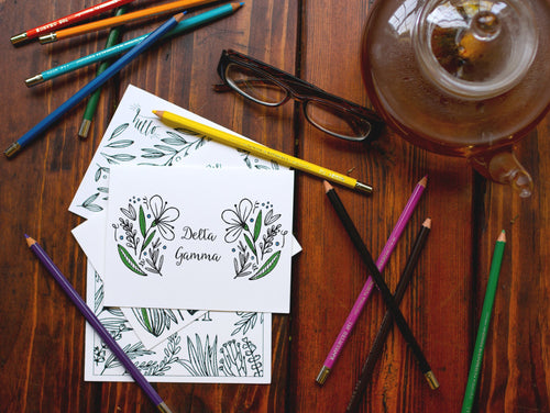 Delta Gamma DG Coloring Note Cards-Craft and Color Co