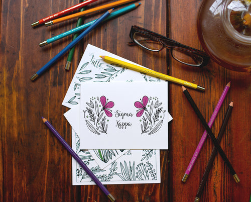 Sigma Kappa SK Coloring Note Cards-Craft and Color Co