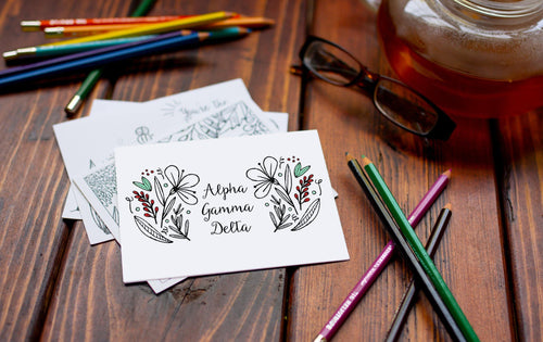 Alpha Gamma Delta Coloring Note Cards-Craft and Color Co