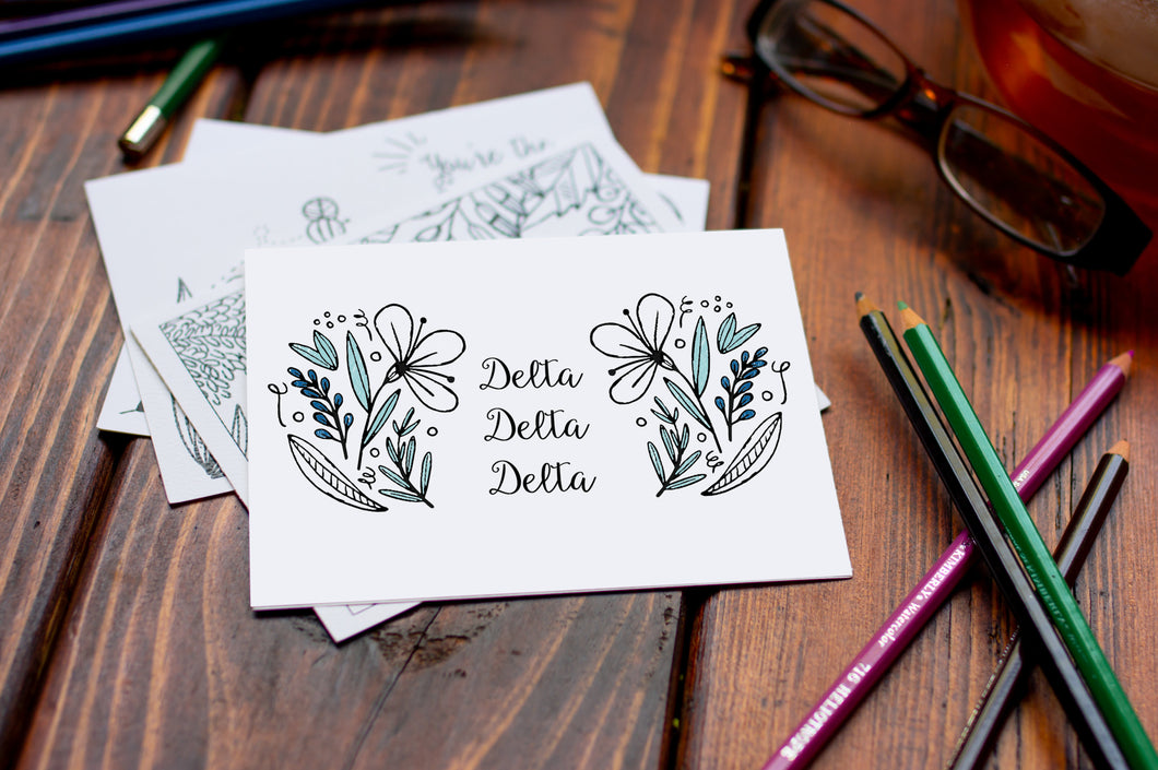 Delta Delta Delta TriDelta Coloring Note Cards-Craft and Color Co