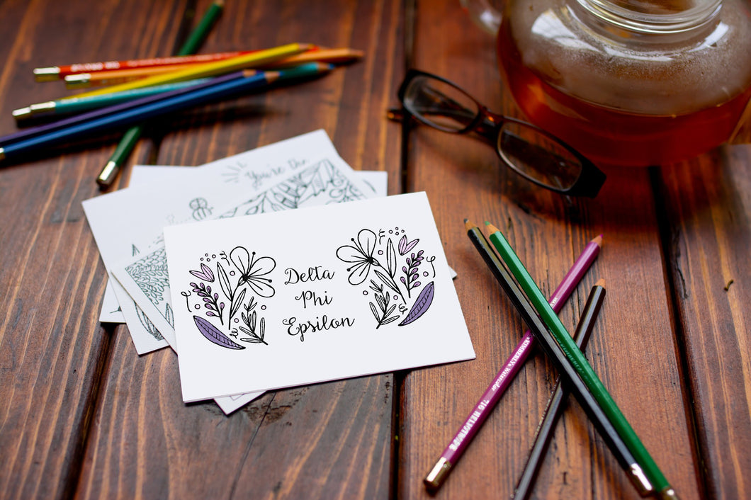 Delta Phi Epsilon DPhiE Coloring Note Cards-Craft and Color Co