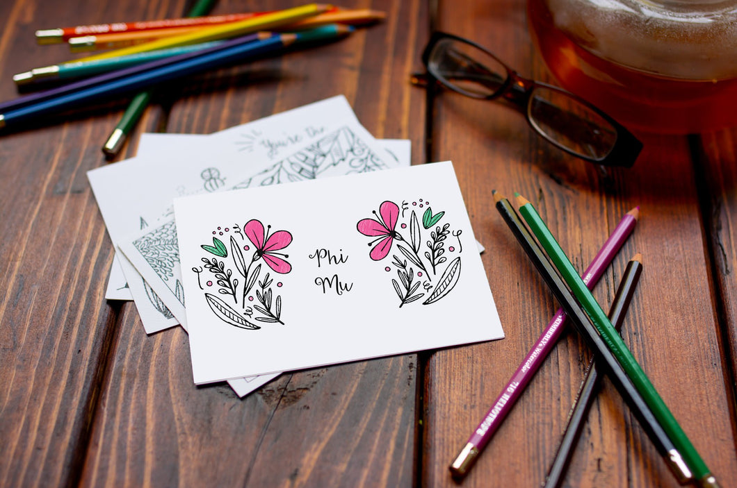 Phi Mu Fraternity Coloring Note Cards-Craft and Color Co