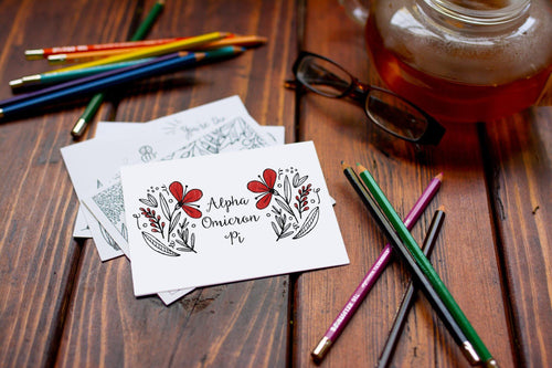Alpha Omicron Pi AOII Coloring Note Cards-Craft and Color Co