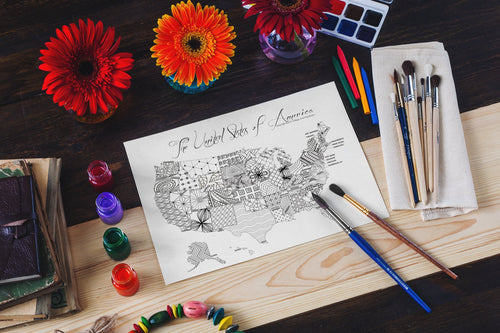 USA Coloring Page Instant Download-Craft and Color Co