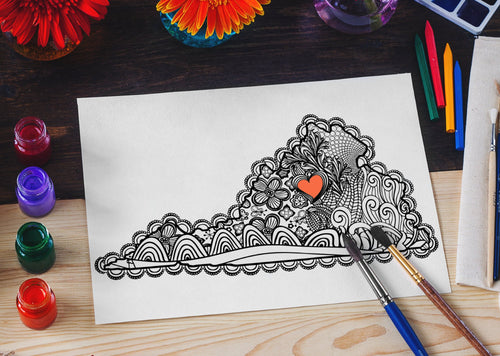 I Heart Virginia Charlottesville UVA Coloring Page-Craft and Color Co