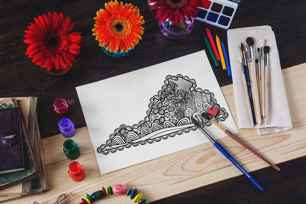 I Heart Virginia Hampton Roads Coloring Page-Craft and Color Co