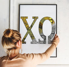 Chi Omega CHI O Greek Letter Adult Coloring Poster