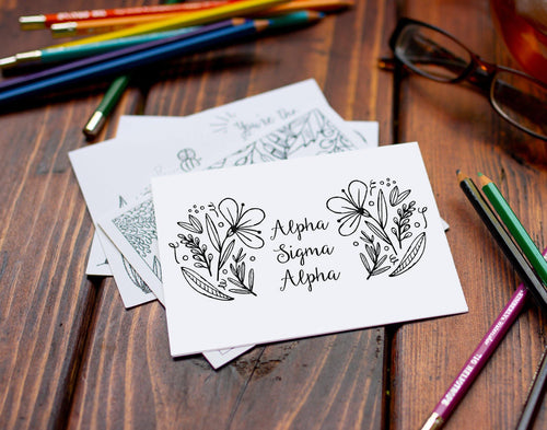 Alpha Sigma Alpha ASA Coloring Note Cards-Craft and Color Co