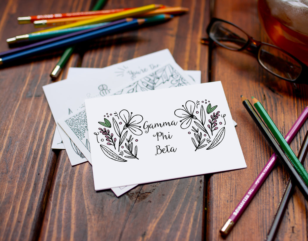 Gamma Phi Beta GPhiB Coloring Note Cards-Craft and Color Co