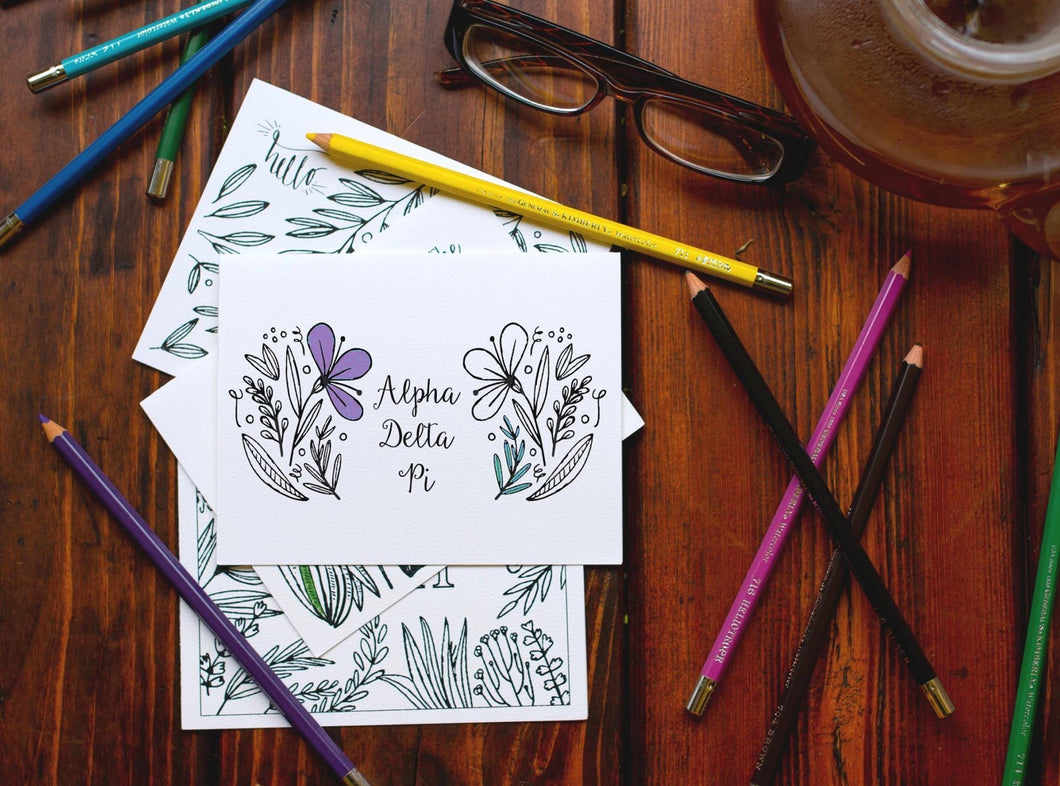 Alpha Delta Pi ADPi Coloring Note Cards-Craft and Color Co