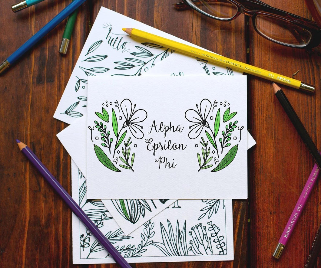 Alpha Epsilon Phi AEPhi Coloring Note Cards-Craft and Color Co-College Coloring Books