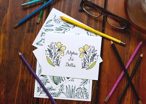 Alpha Xi Delta AXiD Coloring Note Cards-Craft and Color Co