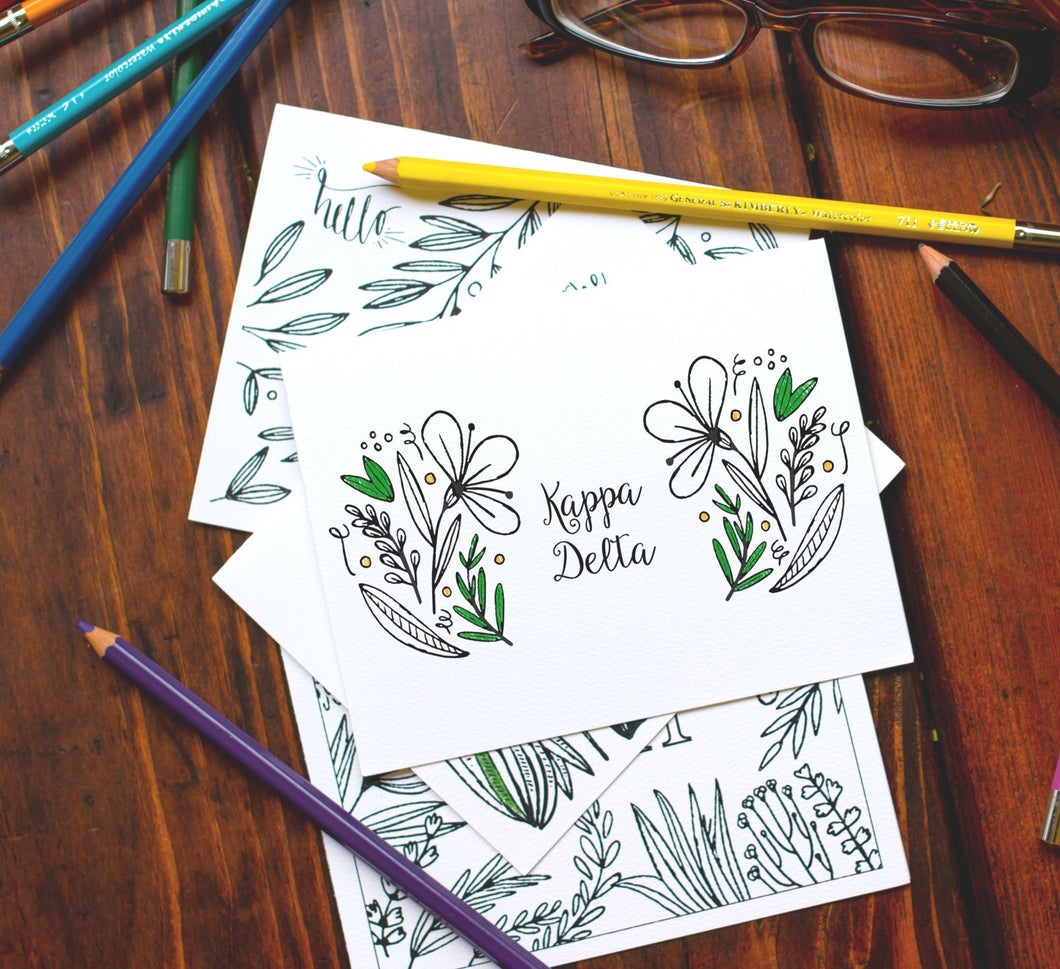 Kappa Delta Coloring Note Cards-Craft and Color Co