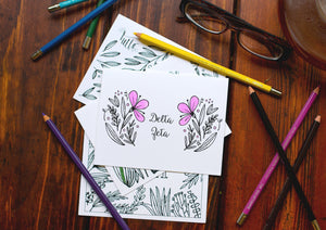 Delta Zeta DZ Coloring Note Cards-Craft and Color Co