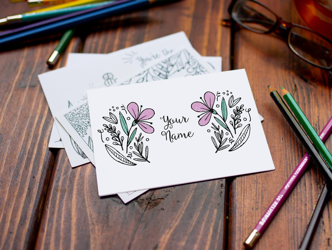 Set of Custom Personalized Coloring Note Cards-Craft and Color Co