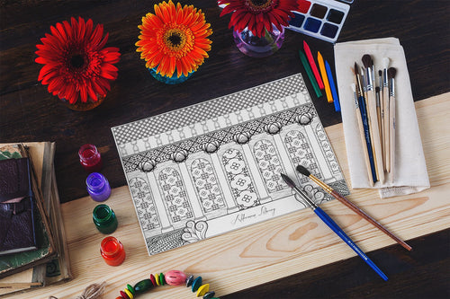 University of Virginia UVA Alderman Library Art Coloring Page Download-Craft and Color Co