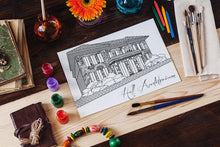 Miami University Ohio MU Hall Auditorium Coloring Page Download-Craft and Color Co