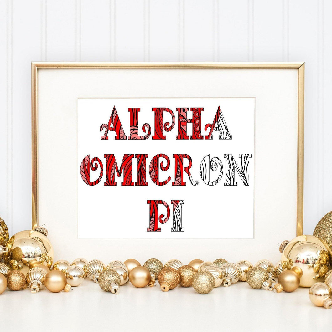 Alpha Omicron Pi Fancy Name Coloring Poster Print-Craft and Color Co