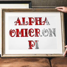 Alpha Omicron Pi Fancy Name Coloring Poster Print