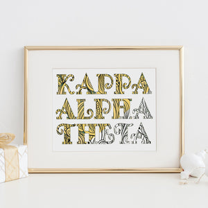 Kappa Alpha Theta Fancy Name Coloring Poster-Craft and Color Co