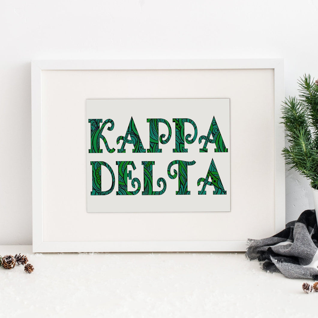 Kappa Delta Fancy Name Coloring Poster-Craft and Color Co