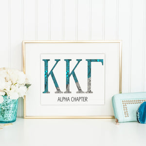 Kappa Kappa Gamma Greek Letter Coloring Poster Print-Craft and Color Co
