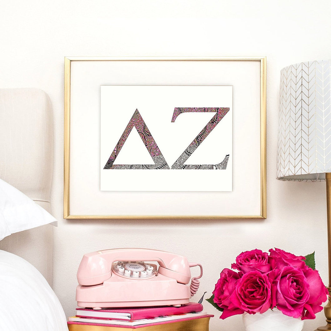 Delta Zeta Greek Letter Coloring Poster Print-Craft and Color Co