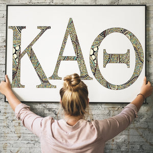 Kappa Alpha Theta Greek Letter Coloring Poster